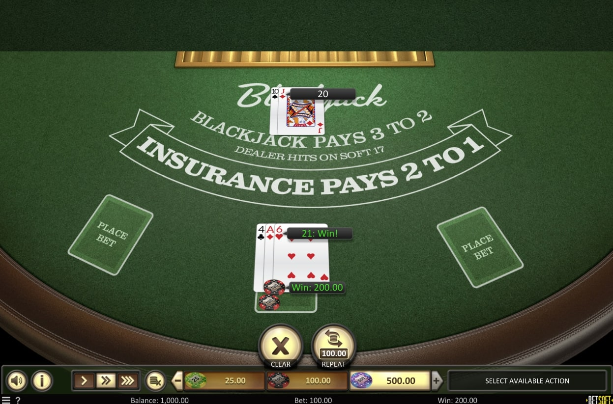 Betsoft American Blackjack gameplay table game online casino casinoslists