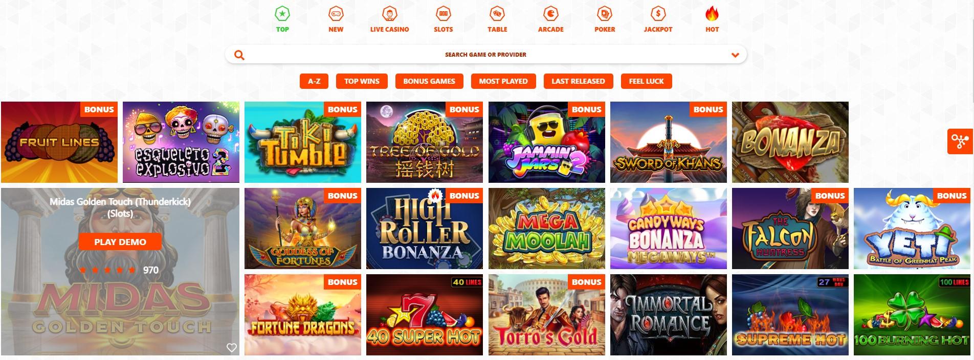 Winzon Casino Games Gallery