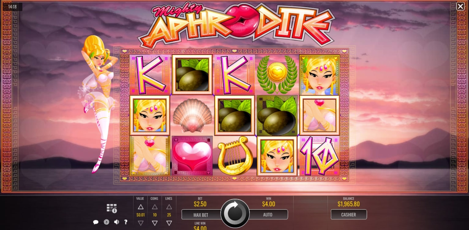 Rival Gaming Mighty Aphrodite online casino slot reels gameplay main screen