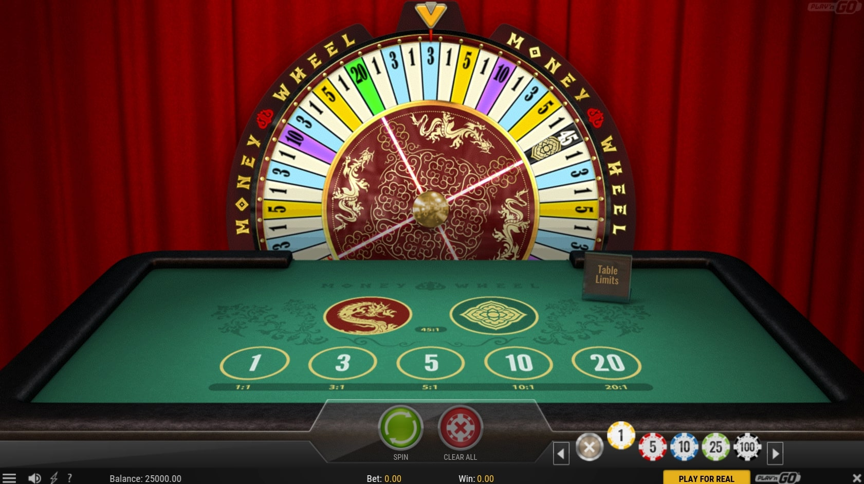 Play N Go Money Wheel table game online casino bet gameplay main screen