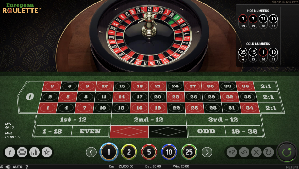 NetEnt European Roulette Tischspiel Online-Casino