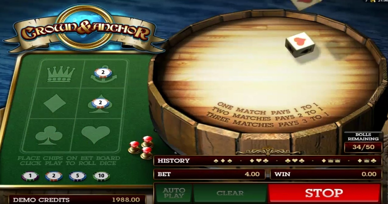 Microgaming Crown and Anchor table game specialty game online casino