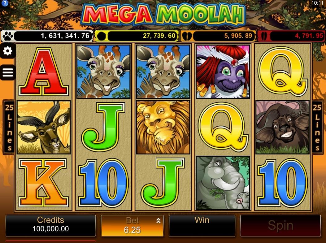 Microgaming Mega Moolah jackpot win progressive slot gameplay main screen