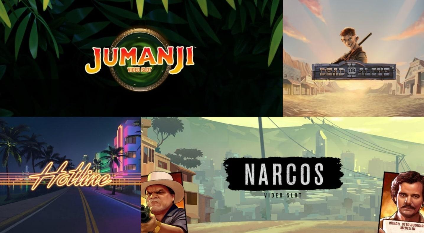 NetEnt games collection Jumanji Hotline Dead or Alive Narcos