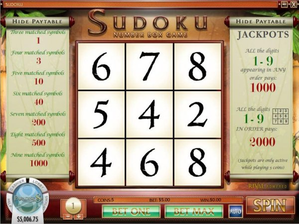 Rival Gaming Sudoku online casino game other games paytable gameplay main screen